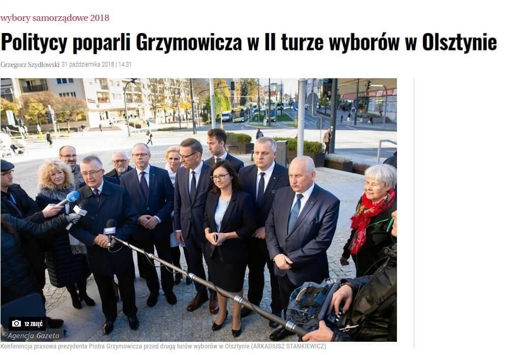 Politycy poparli Grzymowicza II tura wyborów