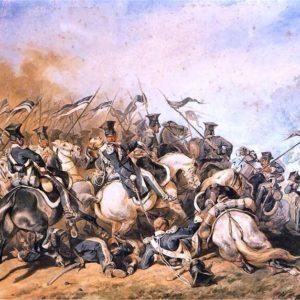 Bitwa podOstrołęką (26 maja 1831 roku), wktórejsławę zdobył dowódca baterii artylerii konnej Józef Bem (wówczas wstopniu podpułkownika) –obraz Juliusza Kossaka