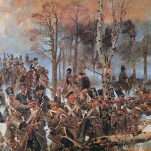 Bitwa oOlszynkę Grochowską 25 lutego 1831 roku –taknajwiększe starcie wojny zRosją wlatach 1830-1831 przedstawił Wojciech Kossak
