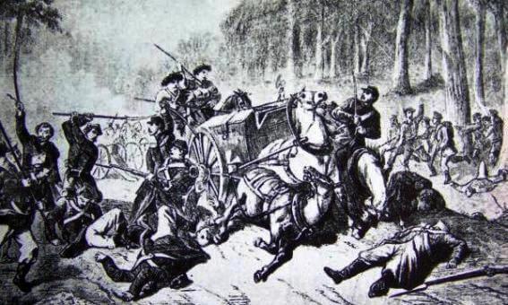 Bitwa pod Żyrzynem (ilustracja prasowa z 1863 roku)