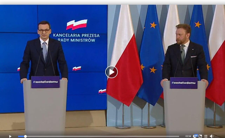 Mateusz Morawiecki, Łukasz Szumowski. Konferencja