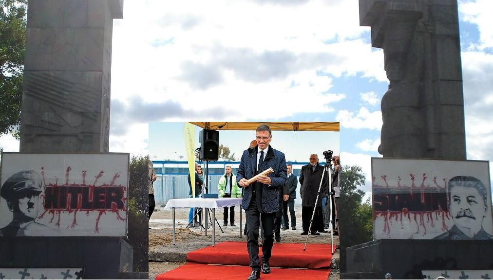 Pomnik Wdzięczności Armii Czerwonej wOlsztynie. Piotr Grzymowicz -Prezydent Olsztyna
