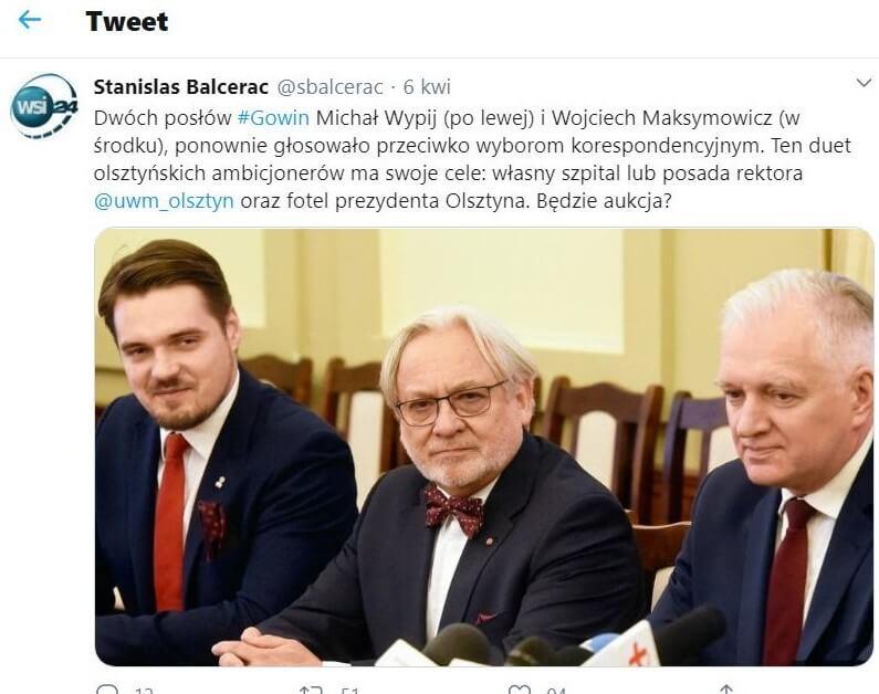 Michał Wypij iWojciech Maksymowicz przeciwko powszechnemu głosowaniu korespondencyjnemu
