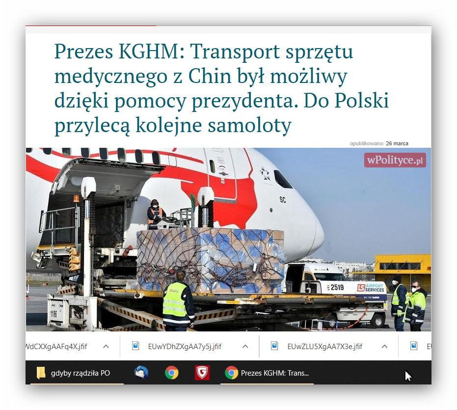 Szef KGHM: Transport sprzętu medycznego dzięki pomocy Prezydenta