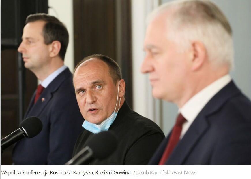 Od lewej: Władysław Kosiniak-Kamysz, Paweł Kukiz, Jarosław Gowin
