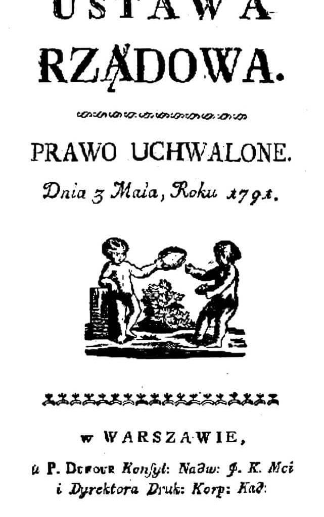 Pierwsza strona pierwszego wydania Konstytucji 3 Maja
