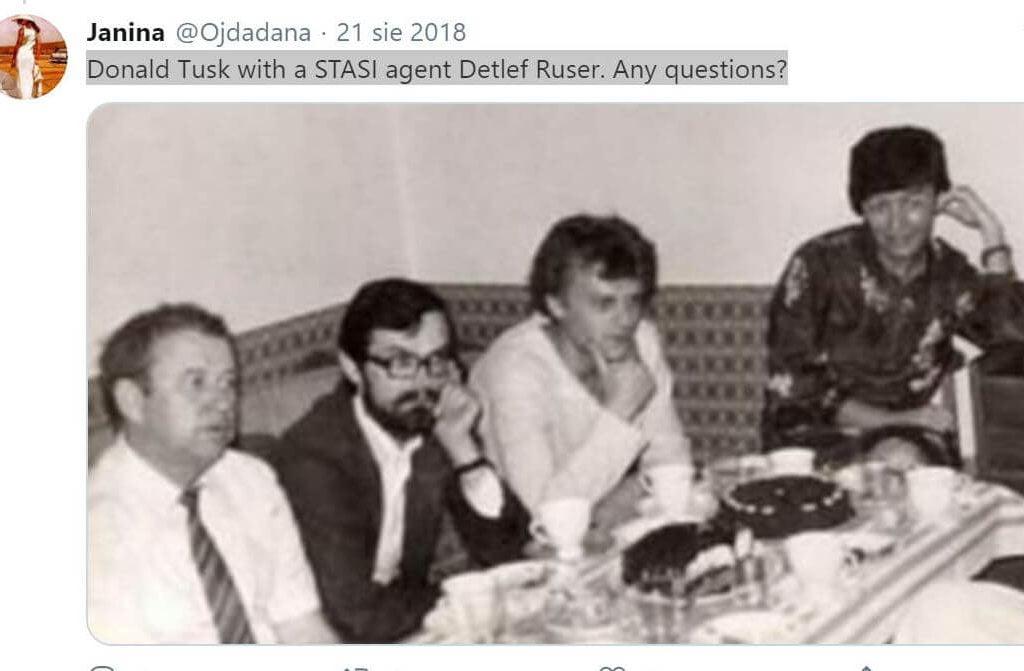 Donald Tusk wtowarzystwie agenta STASI