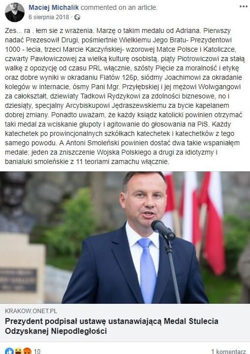 Maciej Michalik -wypowiedź