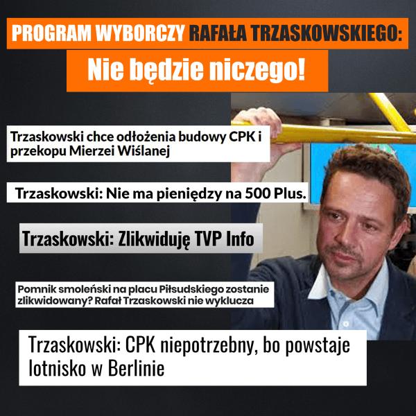 Trzaskowski - nie będzie niczego