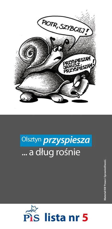 """Ulotka wyborcza """"Olsztyn przyspiesza, adług rośnie"""""""