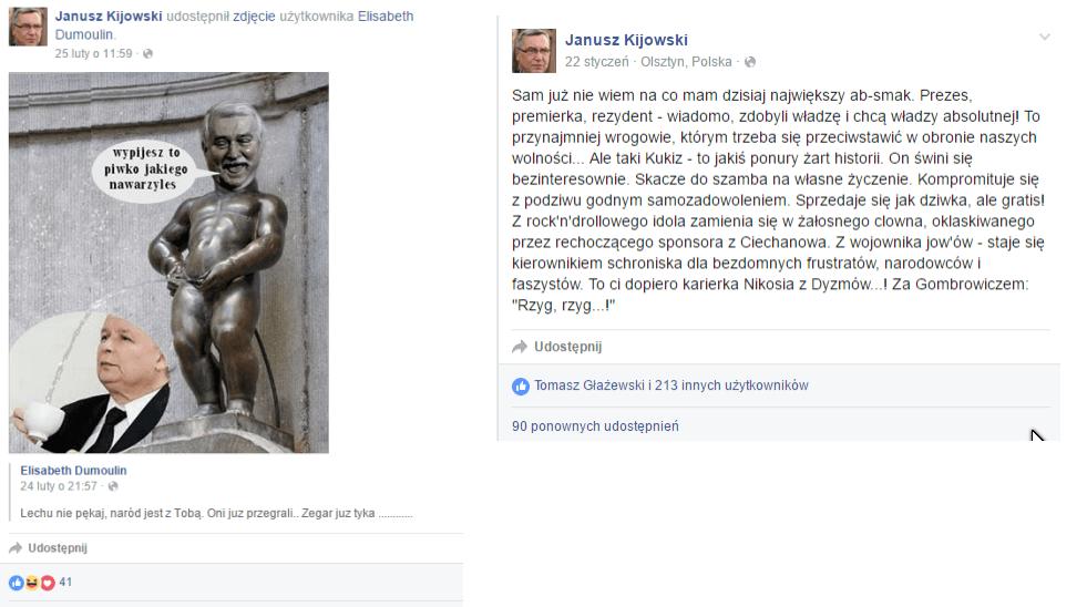 Janusz Kijowski -zestawienie hejterskich wpisów