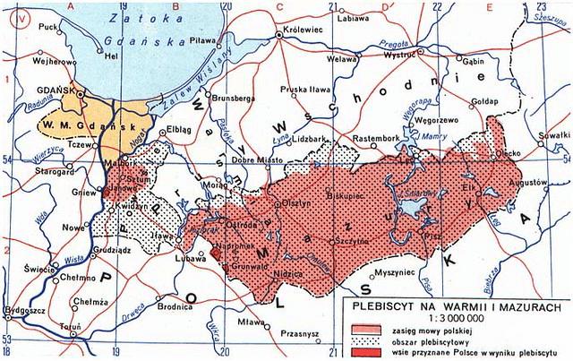 Mapa Prus Wschodnich, przedstawiająca m.in.obszar plebiscytowy w1920 roku