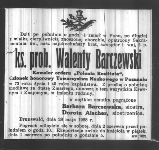 Nekrolog -Barczewski Walenty