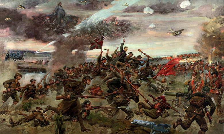 """Jerzy Kossak """"Cud nadWisłą, Bitwa warszawska"""", obraz został namalowany w1930 roku"""