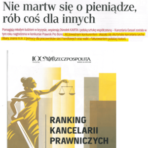 Kancelaria mecenasa Obary została wyróżniona wtegorocznej edycji rankingu kancelarii prawniczych zadziałalność pro bono