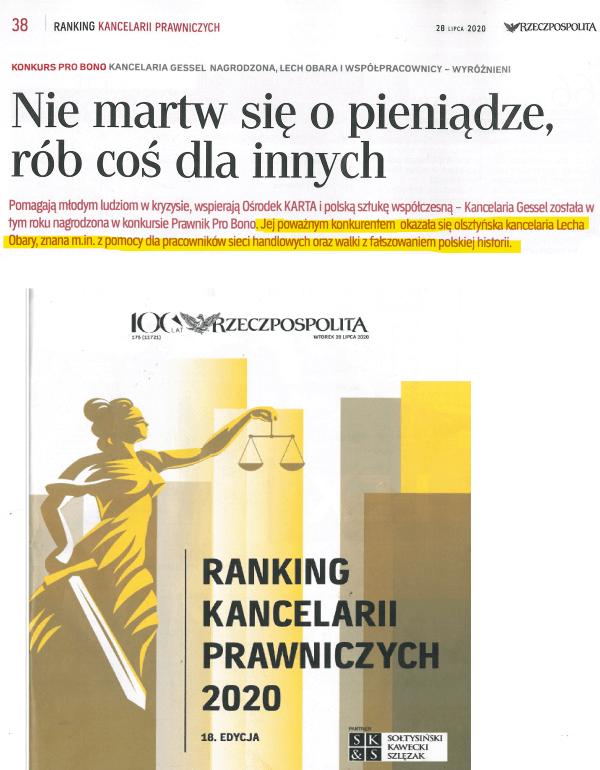 Ranking kancelarii prawniczych - Lech Obara