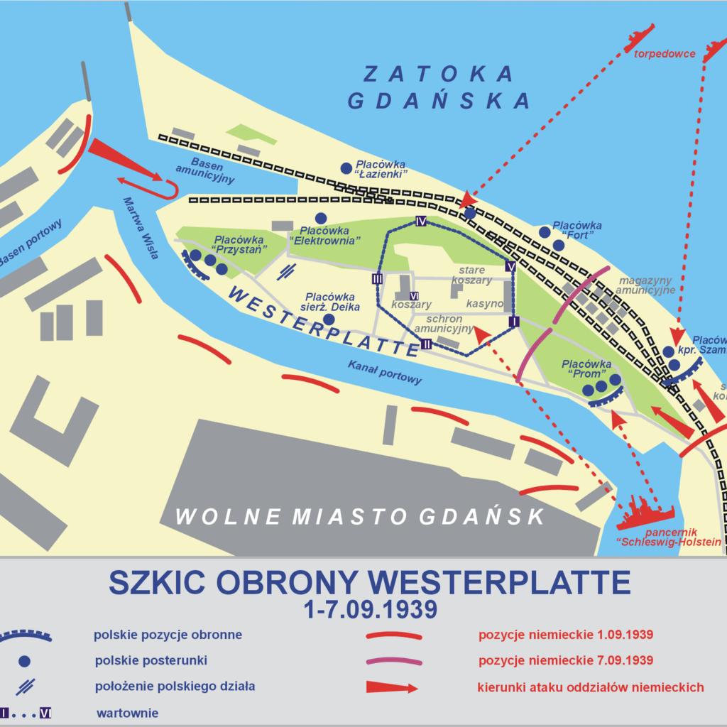 Plan obrony Wojskowej Składnicy Tranzytowej naWesterplatte wewrześniu 1939 r., zoznaczonymi miejscami, wktórychwalczył kpr. E. Szamlewski (źródło: wikipedia.org)