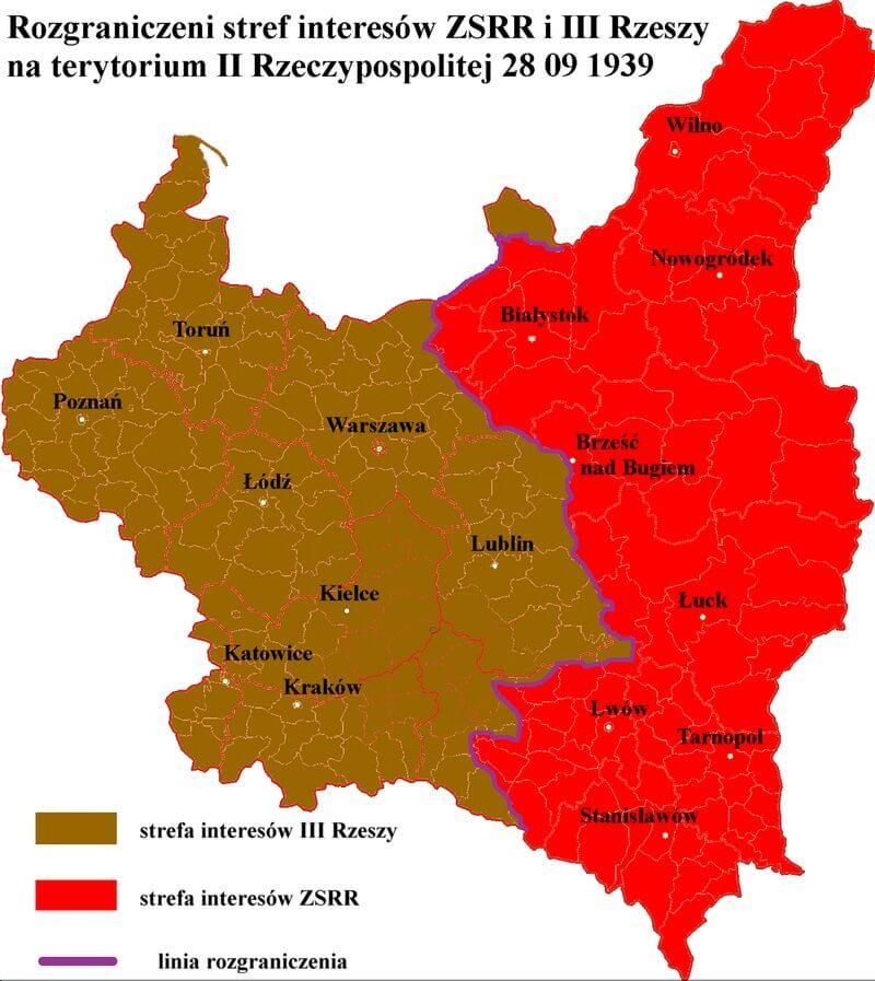 Podział Polski nastrefy wpływu (Pakt Ribbentrop -Mołotow)