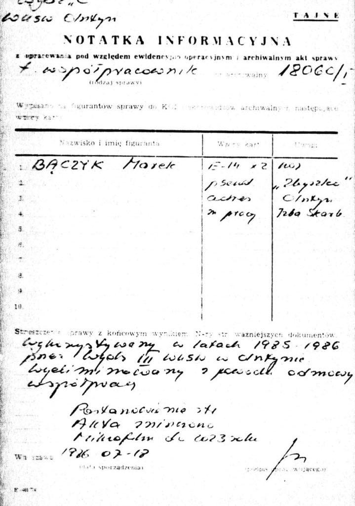 Notatka informacyjna SB
