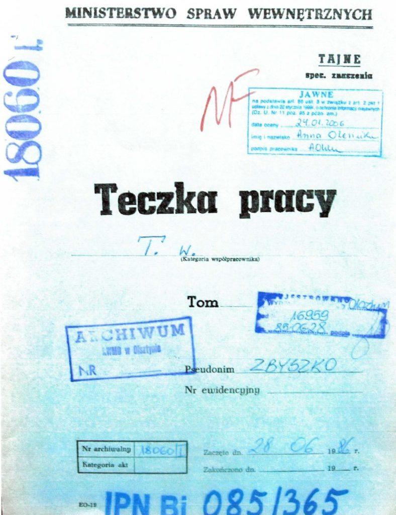 Teczka pracy TW ps. Zbyszko