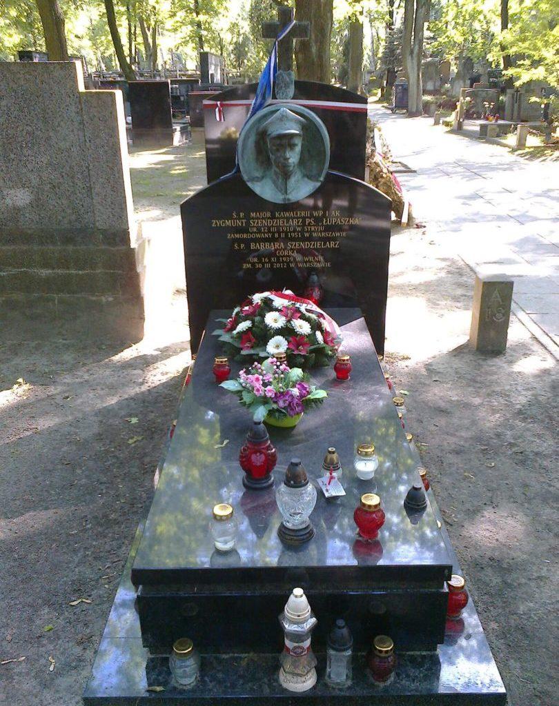Grób Z. Szendzielarza ijego córki Barbary naCmentarzu Wojskowym naPowązkach wWarszawie