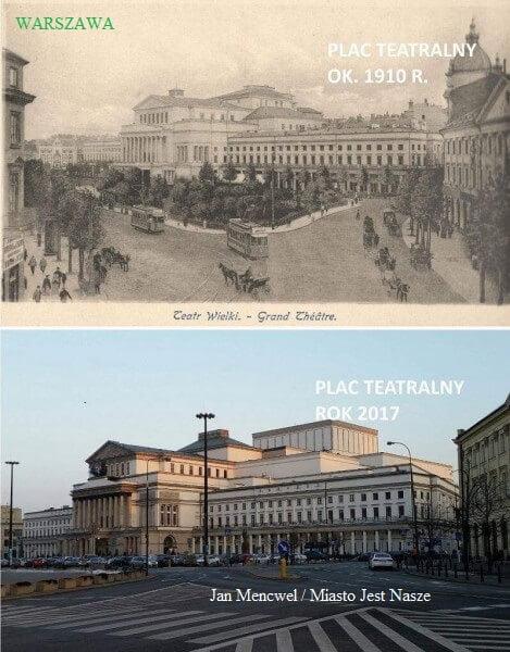 Warszawa,_Plac Teatralny wczoraj idziś