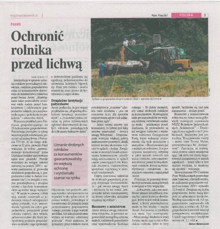 """Artykuł -Ochronić rolnika przedlichwą """"Nasz Dziennik"""""""