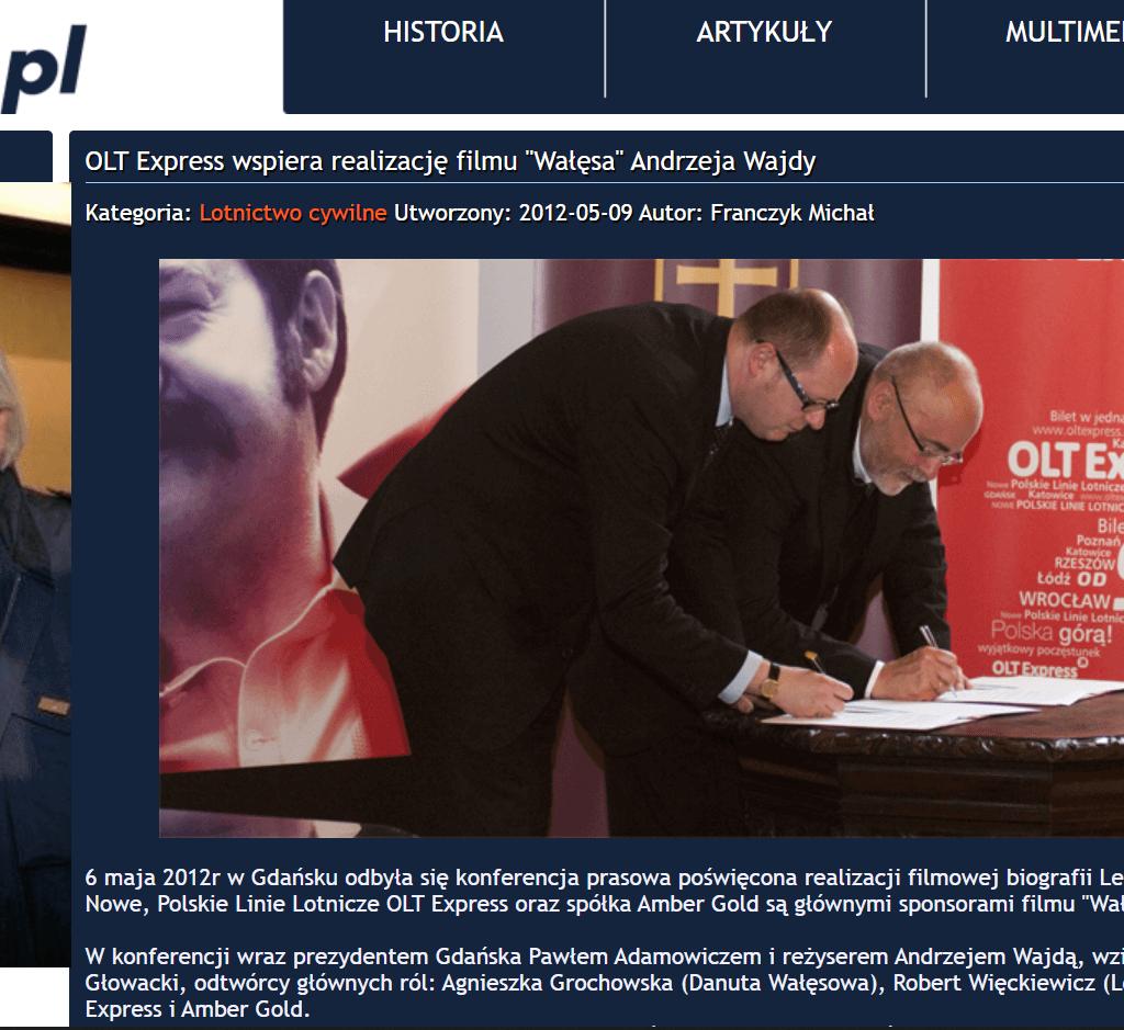 OLT Express wsparło produkcję filmu oLechu Wałęsie