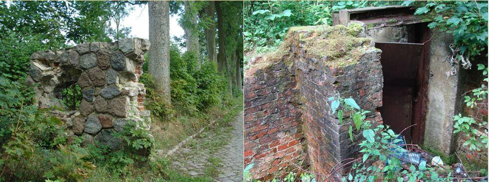 Pozostałości (fragment bramy ifundamenty) pałacu wOgrodzieńcu koło Kisielic (2010 r.)