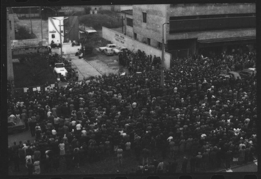Strajk wOlsztyńskich Zakładach Graficznych w1981 roku (fot.: www.sierpien1980.pl)